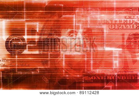 Digital US Dollar or Online Currency Background