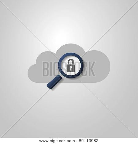 Cloud Computing Concept Design with Magnifying Glass and Padlock Icon