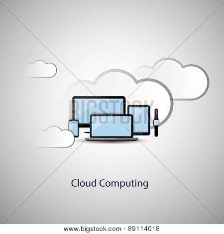 Cloud Computing Concept Design with Black and Blue Colors