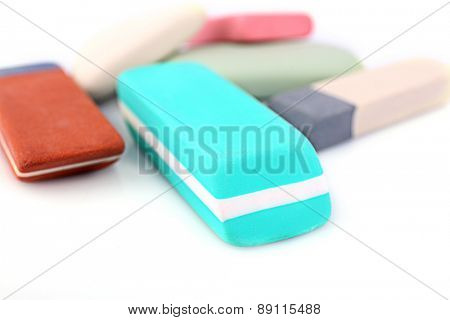 Group of erasers, closeup