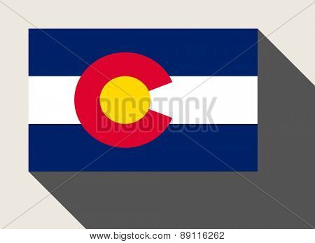 American State of Colorado flag in flat web design style.