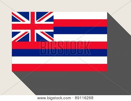 American State of Hawaii flag in flat web design style.