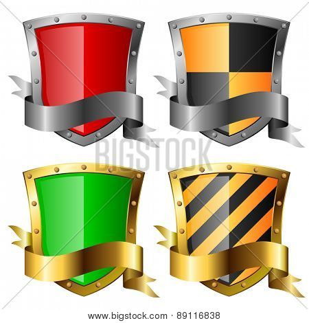 Protection icons. Four shields with banners isolated on white.