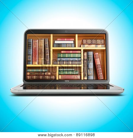 E-learning education internet library or book store. Laptop and vintage books on blue background. 3d
