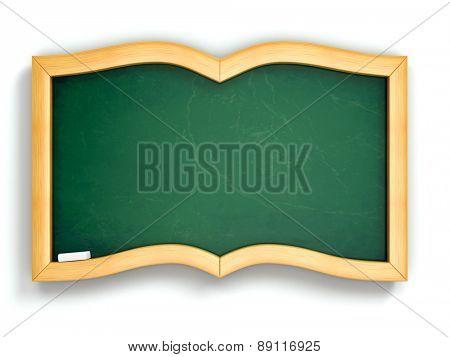 Education concept. Green blackboard in book shape. 3d