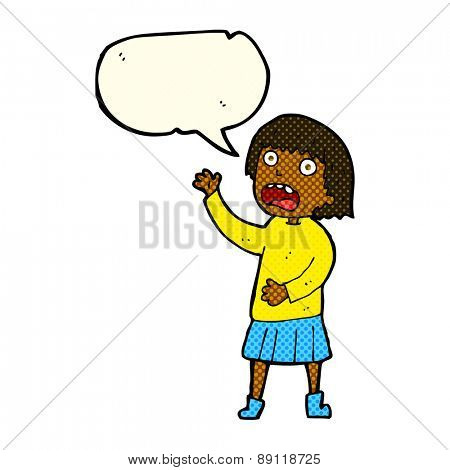 cartoon stressed out woman with speech bubble