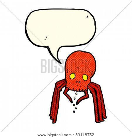 cartoon spooky skull spider with speech bubble