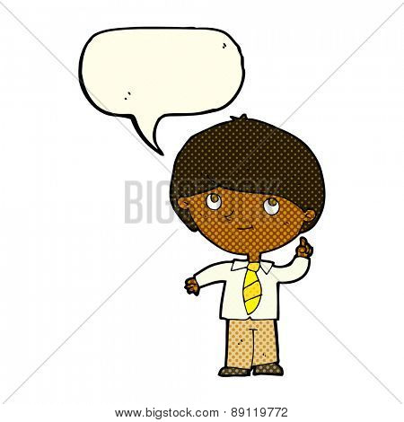 cartoon boy with idea with speech bubble
