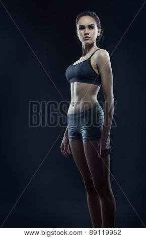 Girl Athlete With Athletic Figure