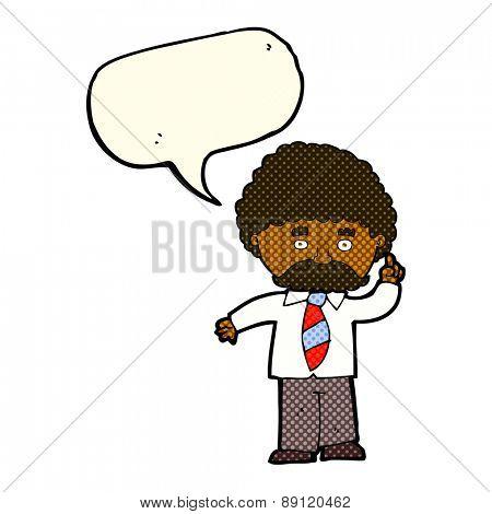 cartoon teacher with speech bubble