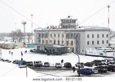 Winter View Of Airport Terminal Petropavlovsk-Kamchatsky. Russia, Kamchatka