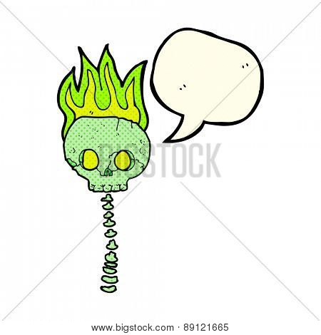 cartoon spooky skull and spine with speech bubble