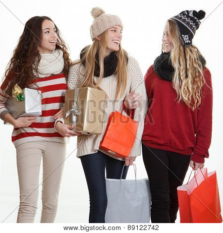teens with party gifts or presents,