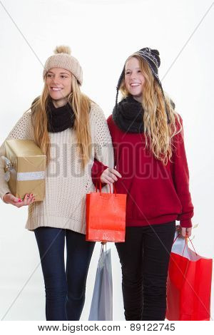 teen girls shopping for gifts or presents.