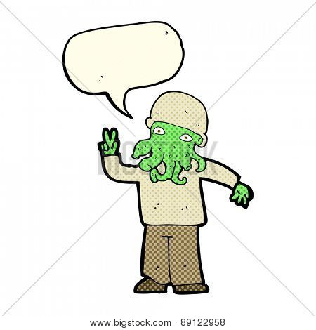 cartoon cool alien with speech bubble