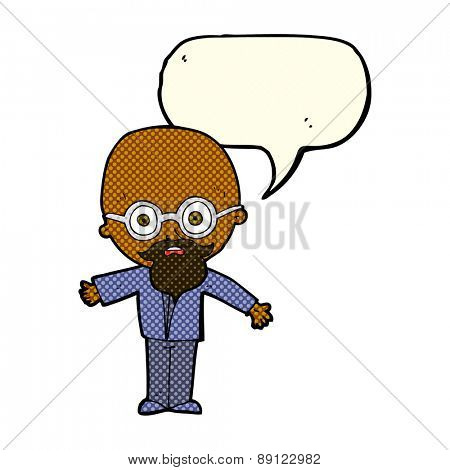 cartoon genius scientist with speech bubble