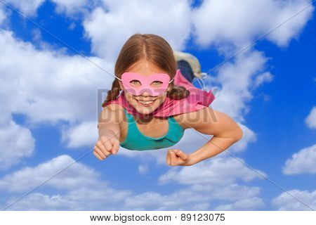 superhero travel flying concept or girl power