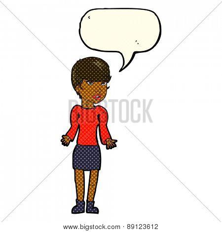 cartoon woman with speech balloon