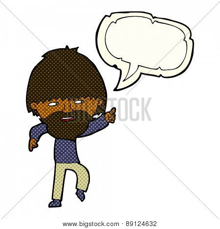 cartoon bearded man pointing and laughing with speech bubble