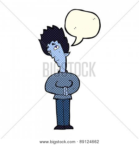 cartoon curious vampire with speech bubble