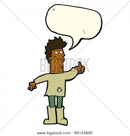 cartoon positive thinking man in rags with speech bubble