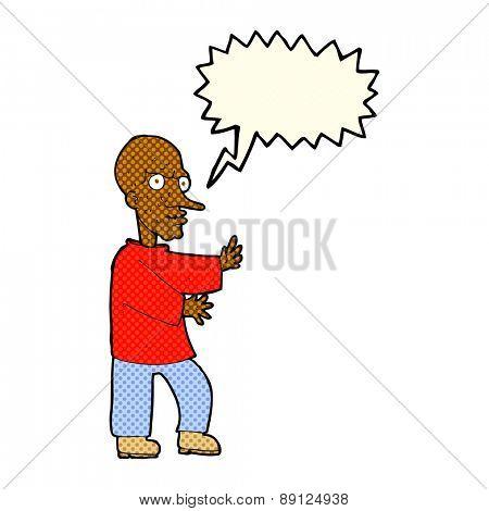 cartoon mean looking man with speech bubble
