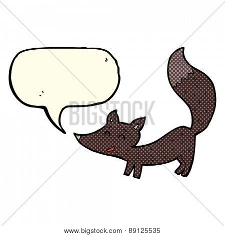 cartoon little wolf cub with speech bubble