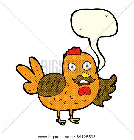 cartoon old rooster with speech bubble