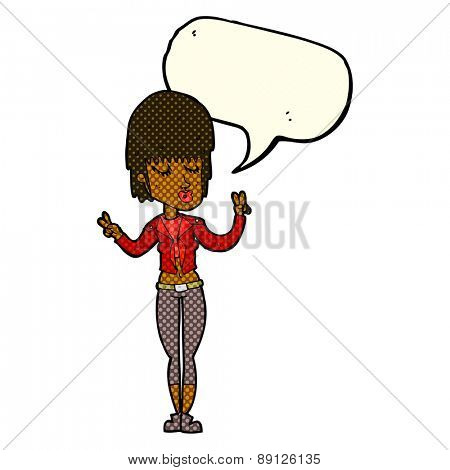 cartoon cool girl with speech bubble