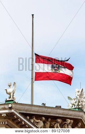austria federal service flag half-mast, symbol of the state, grief, patriotism