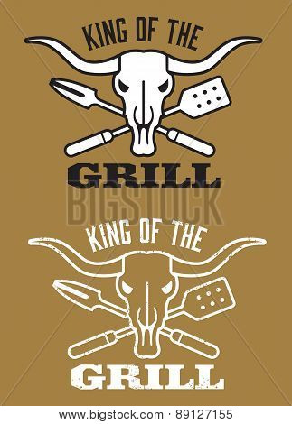 King of the Grill barbecue vector image with cow skull