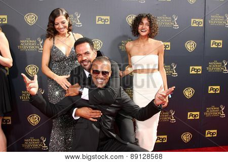 LOS ANGELES - APR 26:  Dana Derrick, Kristoff St John, Paris St John, Shemar Moore at the 2015 Daytime Emmy Awards at the Warner Brothers Studio Lot on April 26, 2015 in Burbank, CA