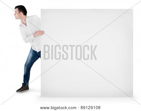 Isolated young man drag empty board