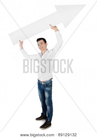 Isolated young man with empty arrow