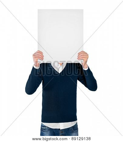 Isolated young man with empty board