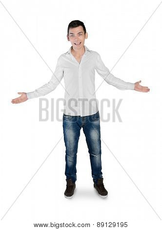 Isolated young man greeting hands up