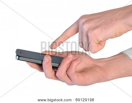 Isolated man hand using phone