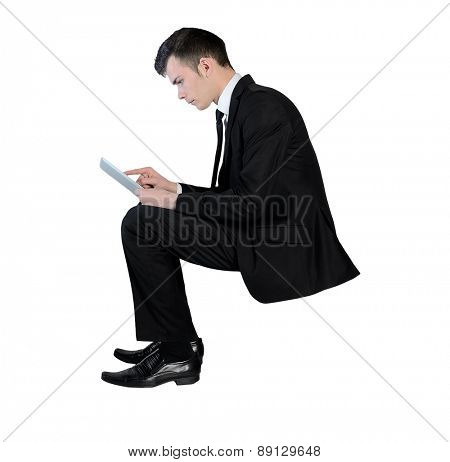 Isolated business man with tablet pc