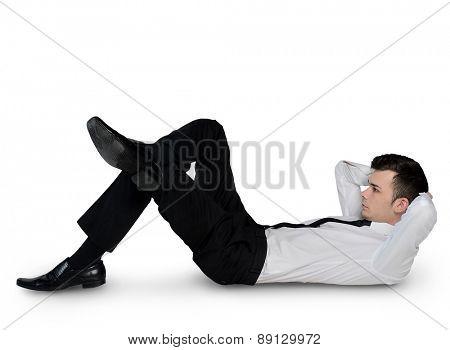 Isolated businessman standing on floor
