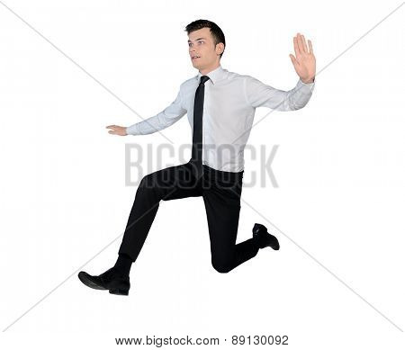 Isolated business man jump side