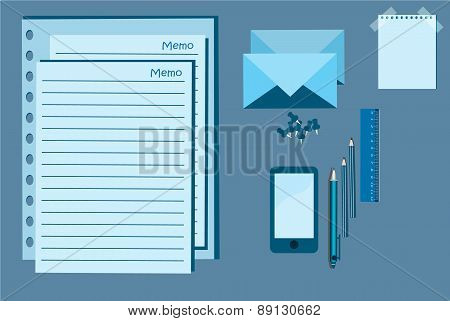 Notepad, Mobile And Pen Vector Illustration