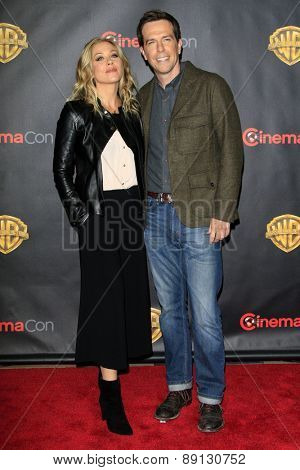 LAS VEGAS - APR 21:  Christina Applegate, Ed Helms at the Warner Brothers 2015 Presentation at Cinemacon at the Caesars Palace on April 21, 2015 in Las Vegas, CA