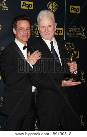 LOS ANGELES - APR 26:  Christian LeBlanc, Tony Geary at the 2015 Daytime Emmy Awards at the Warner Brothers Studio Lot on April 26, 2015 in Los Angeles, CA