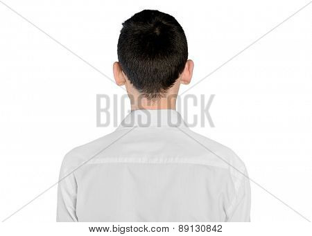 Isolated young man back view