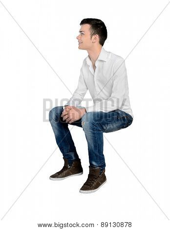 Isolated young man looking side