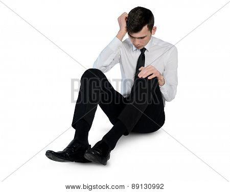 Isolated business man suffer on floor