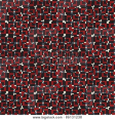 Geometric seamless pattern in red, white and black colors