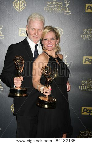 LOS ANGELES - APR 26:  Tony Geary, Maura West at the 2015 Daytime Emmy Awards at the Warner Brothers Studio Lot on April 26, 2015 in Los Angeles, CA