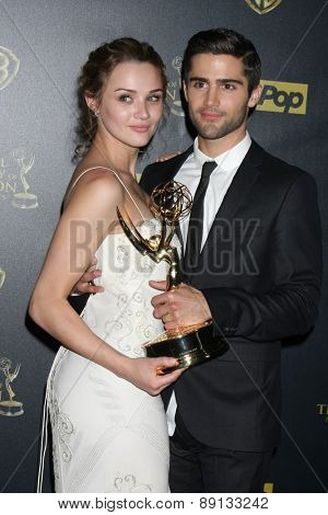 LOS ANGELES - APR 26:  Hunter King, Max Erlich at the 2015 Daytime Emmy Awards at the Warner Brothers Studio Lot on April 26, 2015 in Los Angeles, CA