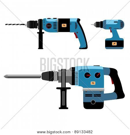 Illustration Building Tools Electric isolated on white background. Set icon. Vector.